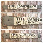 Custom GPS Coordinates Sign with Family Name.  Rustic 4 Foot Long Wood Sign.